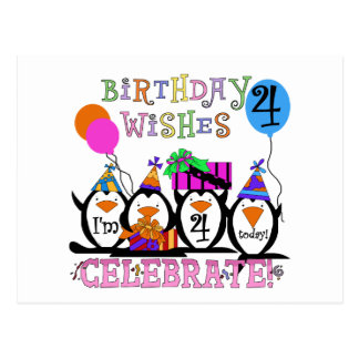 Silly Penguins 4th Birthday T-shirts and Gifts Postcard