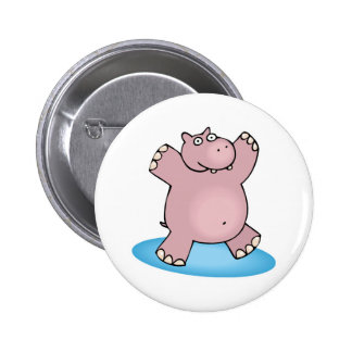 silly pink dancing hippo 6 cm round badge