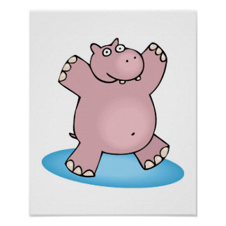 silly pink dancing hippo posters