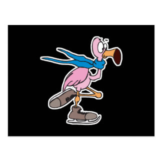 silly pink flamingo ice skating postcard