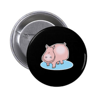 silly pink hippo 6 cm round badge