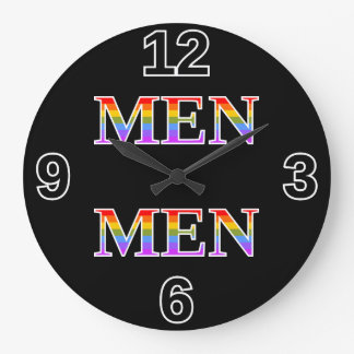 """Silly, Proud, Rainbow-Colored """"MEN"""" Clock"""