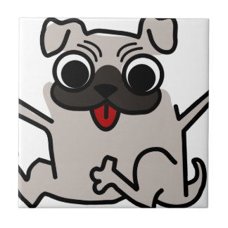 silly pug dog small square tile