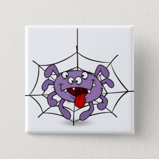 Silly Purple Cartoon Spider 15 Cm Square Badge