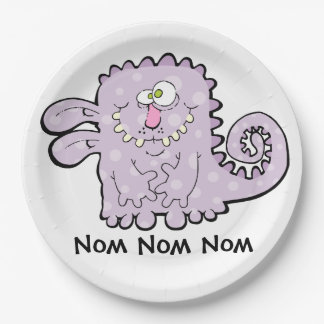 Silly Purple Monster Paper Plates 9 Inch Paper Plate