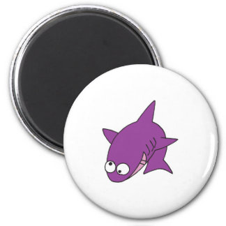 silly purple shark 6 cm round magnet