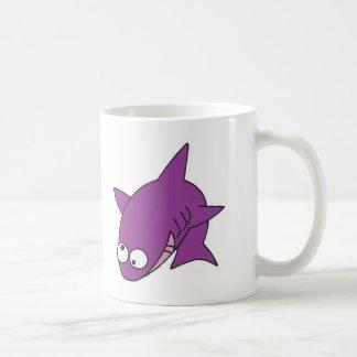 silly purple shark basic white mug