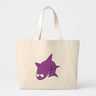 silly purple shark jumbo tote bag
