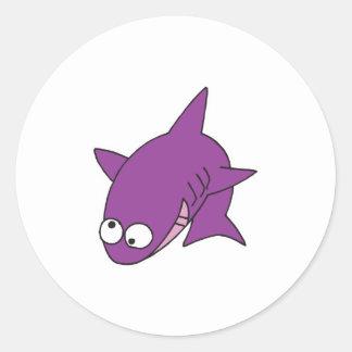 silly purple shark round sticker