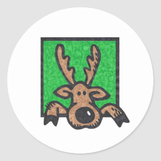 Silly Reindeer Green too Round Sticker