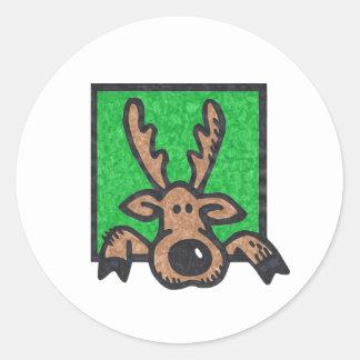 Silly Reindeer Green too Round Sticker