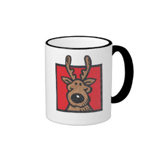 Silly Reindeer Red & Green Mug