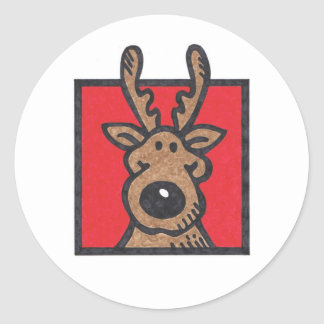 Silly Reindeer Red Round Sticker