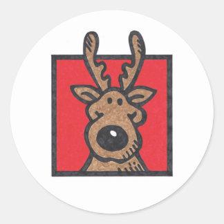 Silly Reindeer Red Round Sticker