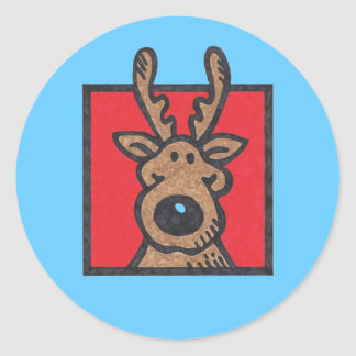 Silly Reindeer Red with blue background Round Sticker