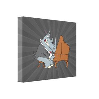 silly rhino playing piano pianist cartoon canvas print