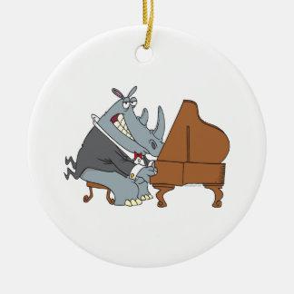 silly rhino playing piano pianist cartoon christmas ornament