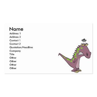 silly sad grumpy dinosaur dino pack of standard business cards