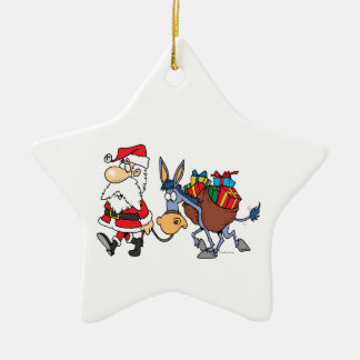 silly santa and christmas donkey christmas ornament