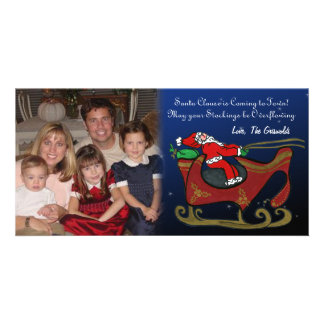 Silly Santa in His Sleigh Personalised Photo Card