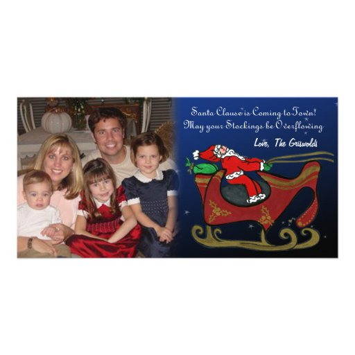 Silly Santa in His Sleigh Picture Card