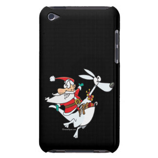 silly santa on a kangaroo funny cartoon iPod touch cover