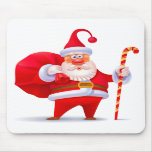 Silly Santa with Candy Cane Mouse Pads
