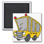 Silly School Bus Square Magnet