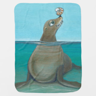 """""""Silly Sea Life""""  Playful Sea Lion Receiving Blanket"""