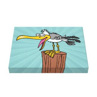 silly seagull cartoon canvas print