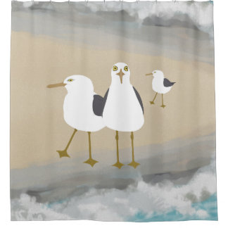 Silly Seagulls Shower Curtain