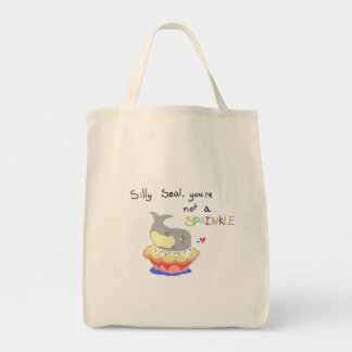 Silly Seal Cupcake Bag! Grocery Tote Bag