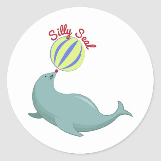 Silly Seal Round Stickers