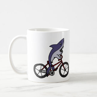 Silly Shark Riding Bicycle Cartoon Coffee Mug