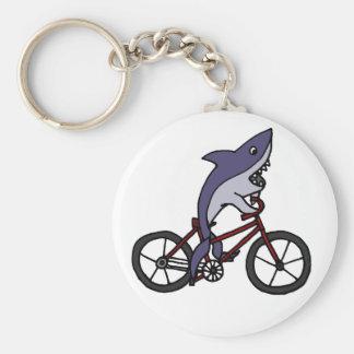 Silly Shark Riding Bicycle Cartoon Key Ring