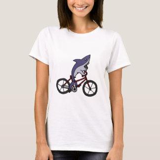 Silly Shark Riding Bicycle Cartoon T-Shirt