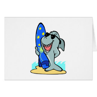 silly shark with surfboard greeting card