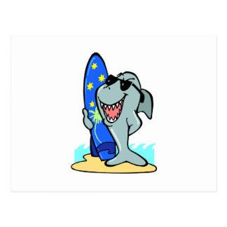 silly shark with surfboard postcard