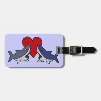 Silly Sharks in Love Art Luggage Tag