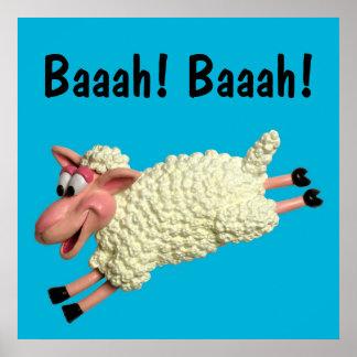 Silly Sheep Baby Boy Shower Nursery Poster