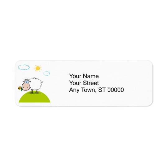 silly sheep on a hill with a flower return address label