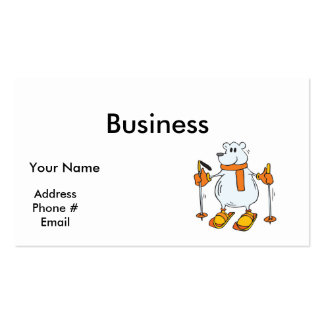 silly skiing polar bear pack of standard business cards