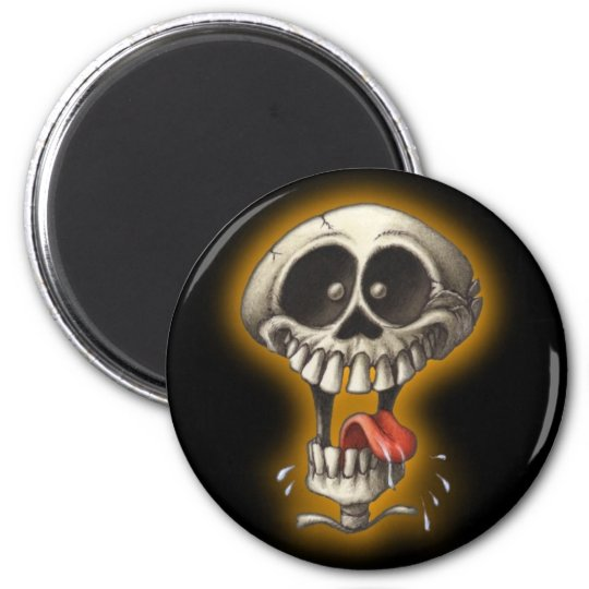 Silly Skull! 6 Cm Round Magnet