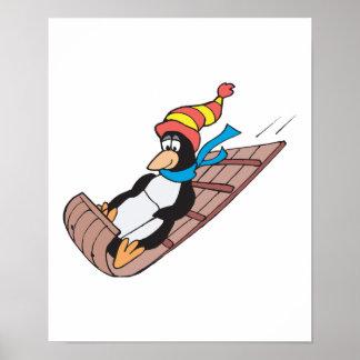 silly sledding penguin poster