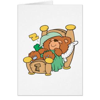 silly sleeping teddy bear design greeting card