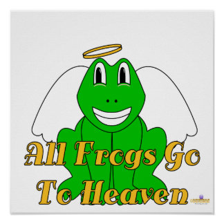 Silly Smiling Green Frog Angel All Frogs Go To Hea Poster