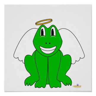 Silly Smiling Green Frog Angel Print