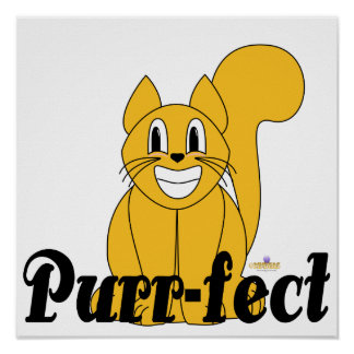 Silly Smiling Orange Cat Purr-fect Poster