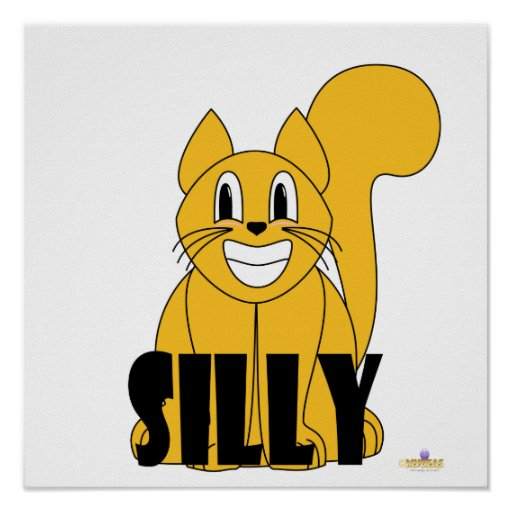 Silly Smiling Orange Cat Silly Poster
