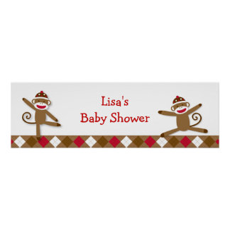 Silly Sock Monkey Baby Shower Banner Sign Poster